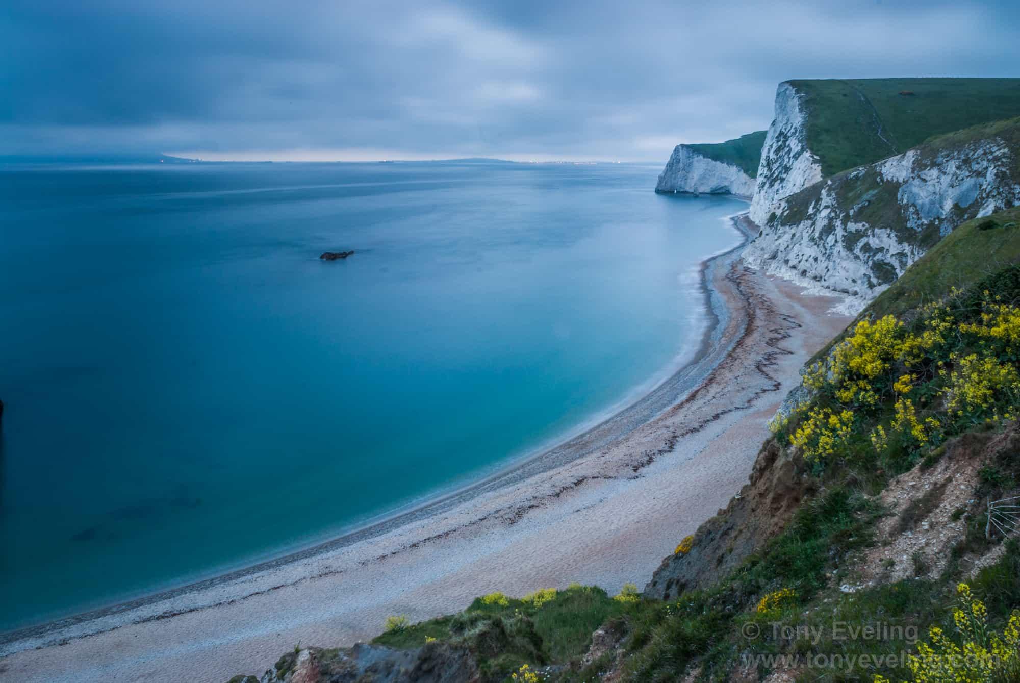 Dorset beach at dusk, UK