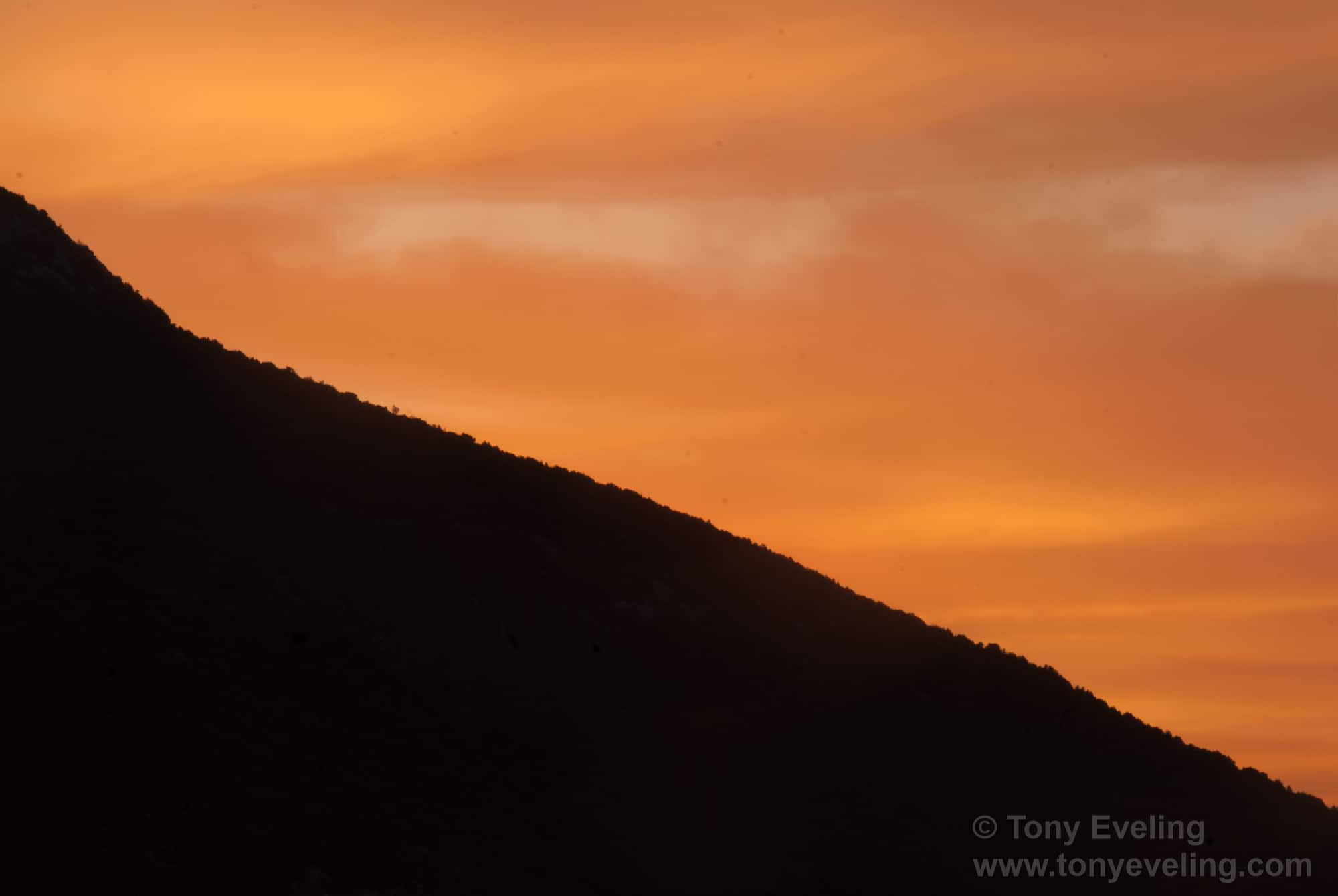 Croatian dawn sky and silhouetted mountainside