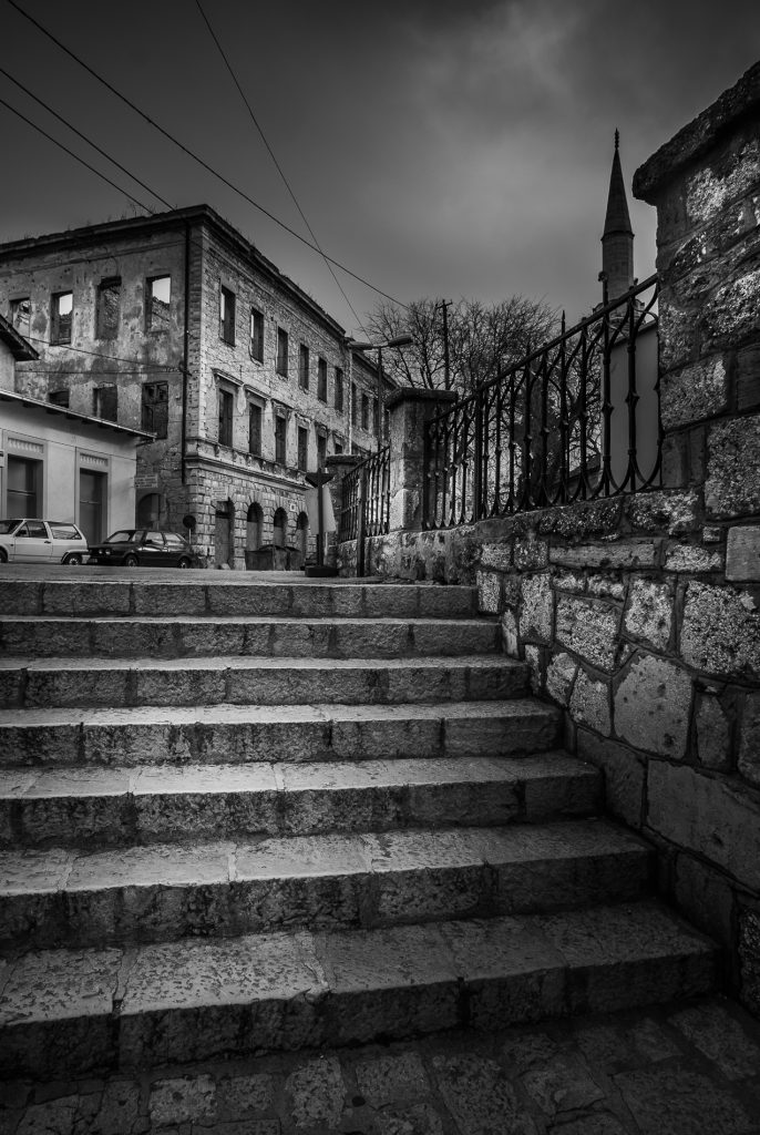 Steps leading up, in the town of Mostar, Bosnia and Herzegovina