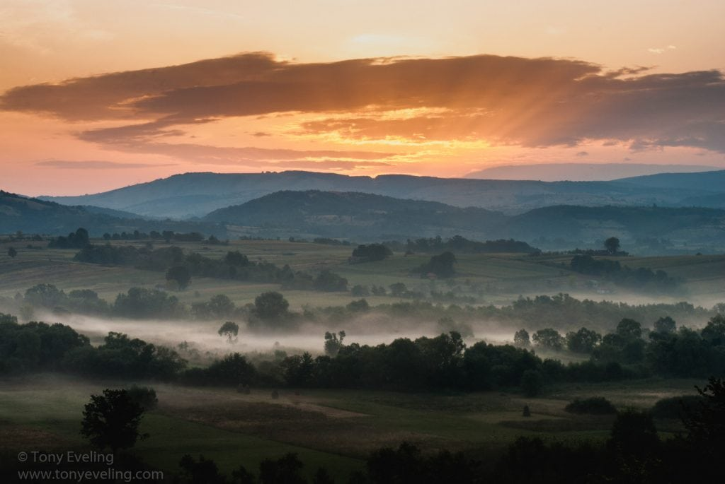 Looking across a valley at dawn. Wallachia province, Romania