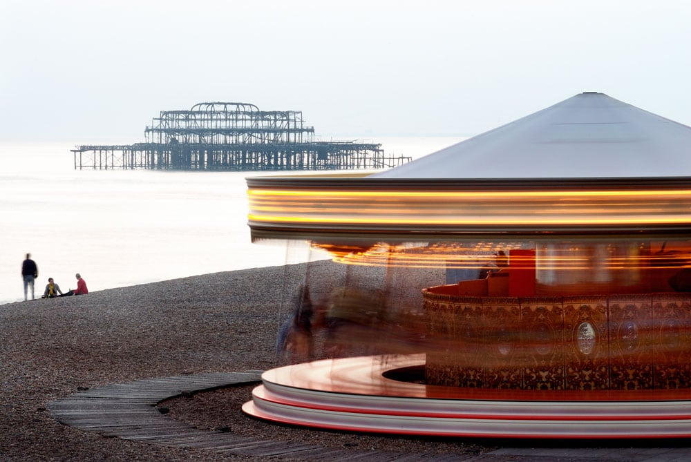 West Pier and merry-go-round, Brighton, East sussex,england,uk