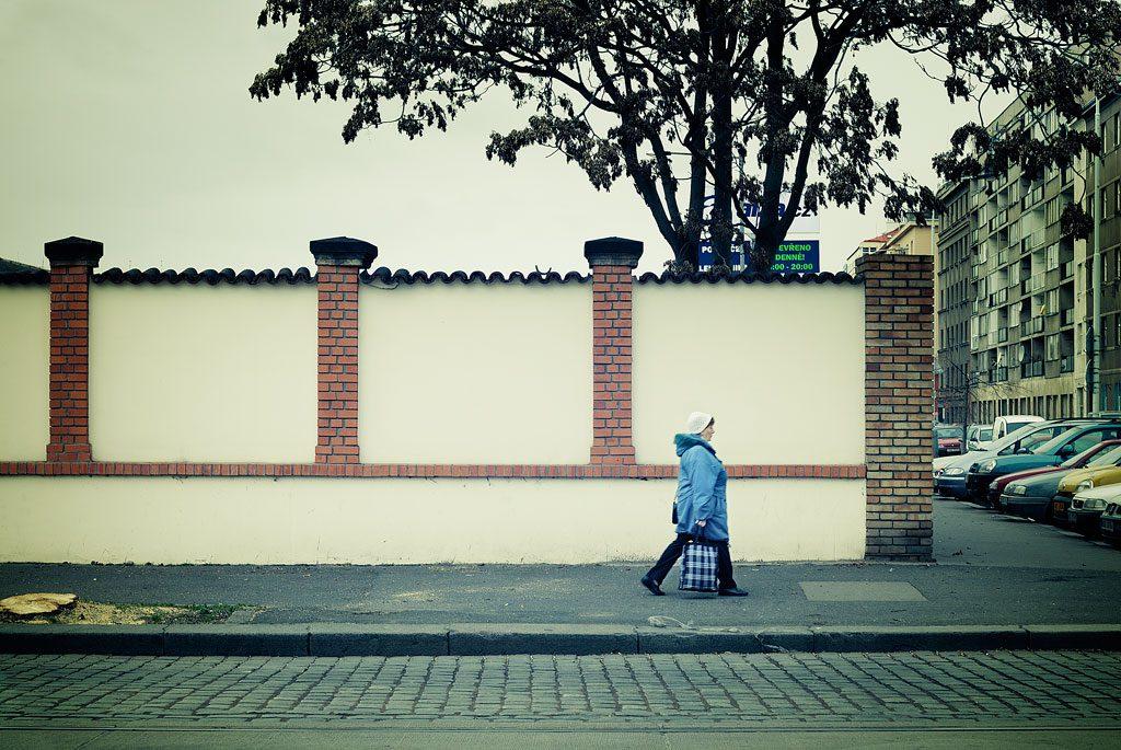 Pedestrian on a Prague road