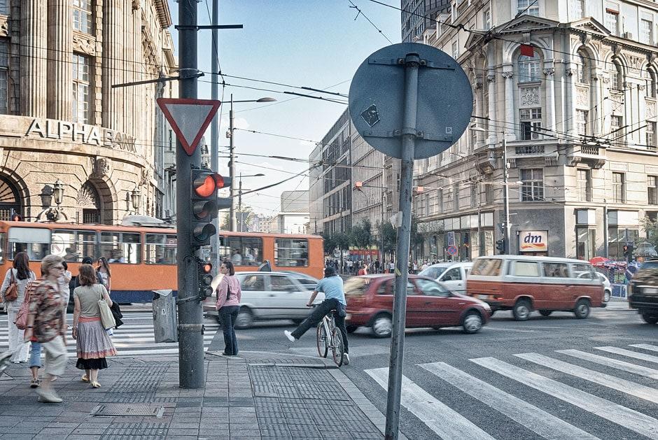 Busy street in Belgrade, Serbia