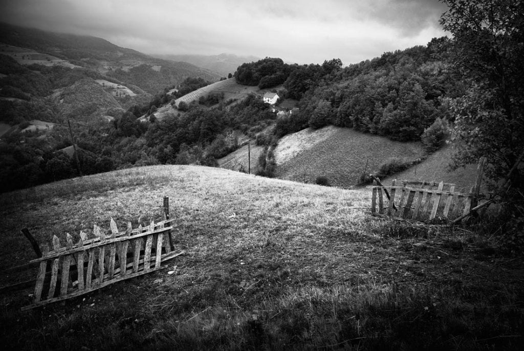 Black and white photograph of mountain scenery in Western Serbia
