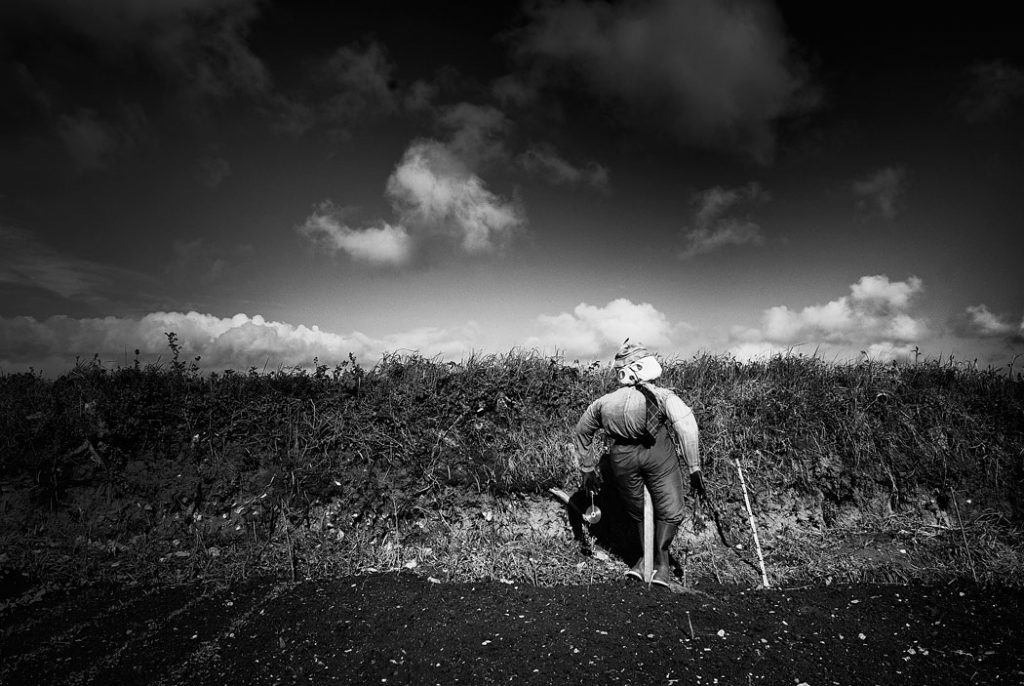 Black and white photograph of a scarecrow in a field on the Isle of Wight.