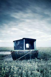 Abandoned boat, burnham deepdale,norfolk, england,uk