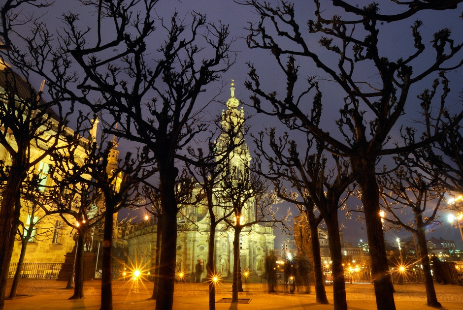 Night time view of Hofkirche (Court Chapel) from Bruhlsche Terrasse (Bruhl Terrace). Dresden, Germany