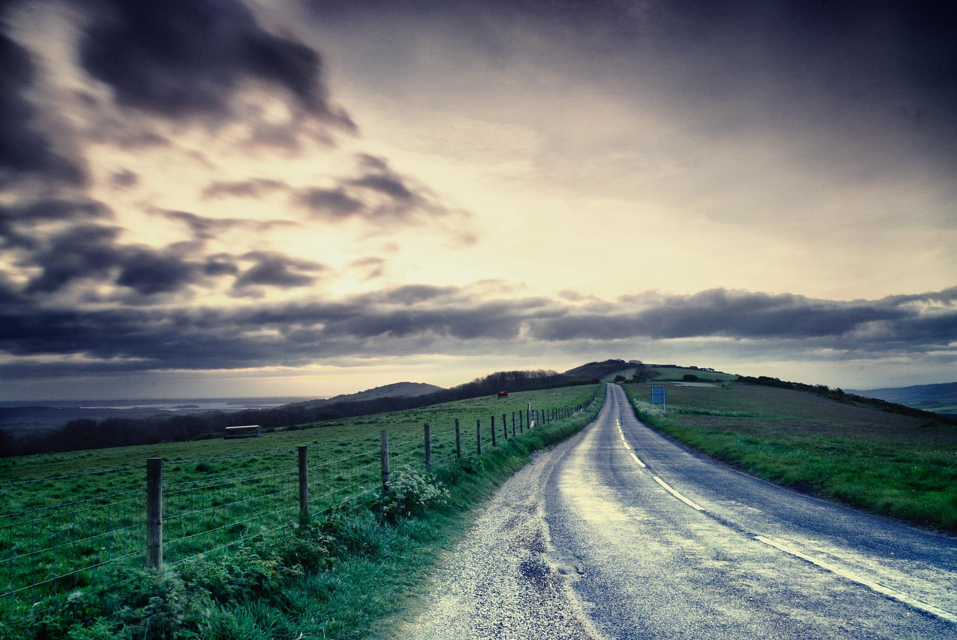 Road at dawn on the Isle of purbeck,dorset,england,uk