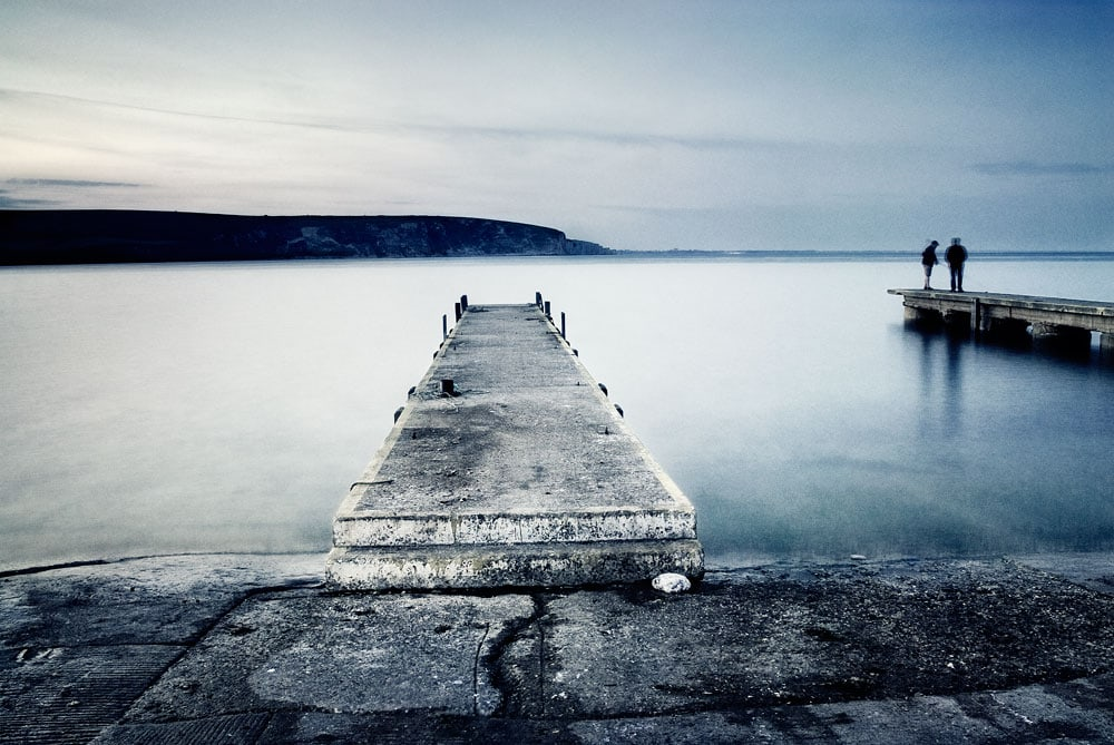 Swanage bay, dusk,dorset,england,uk