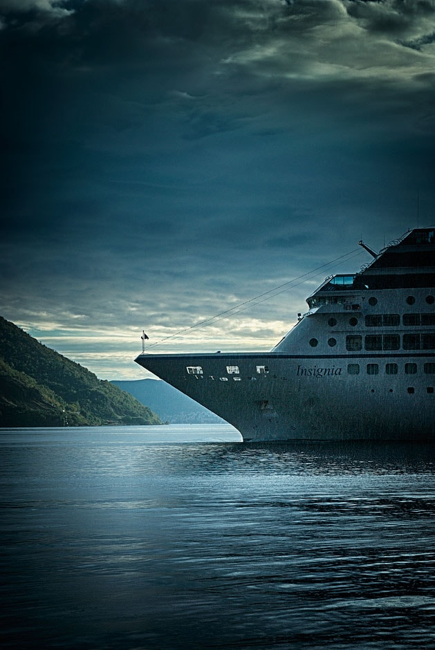 Cruise ship in the Bay of Kotor, Monenrgro