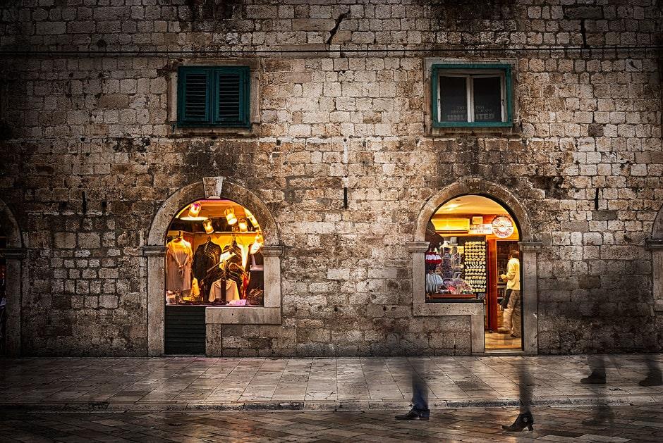 Dubrovnik old town at night, Croatia