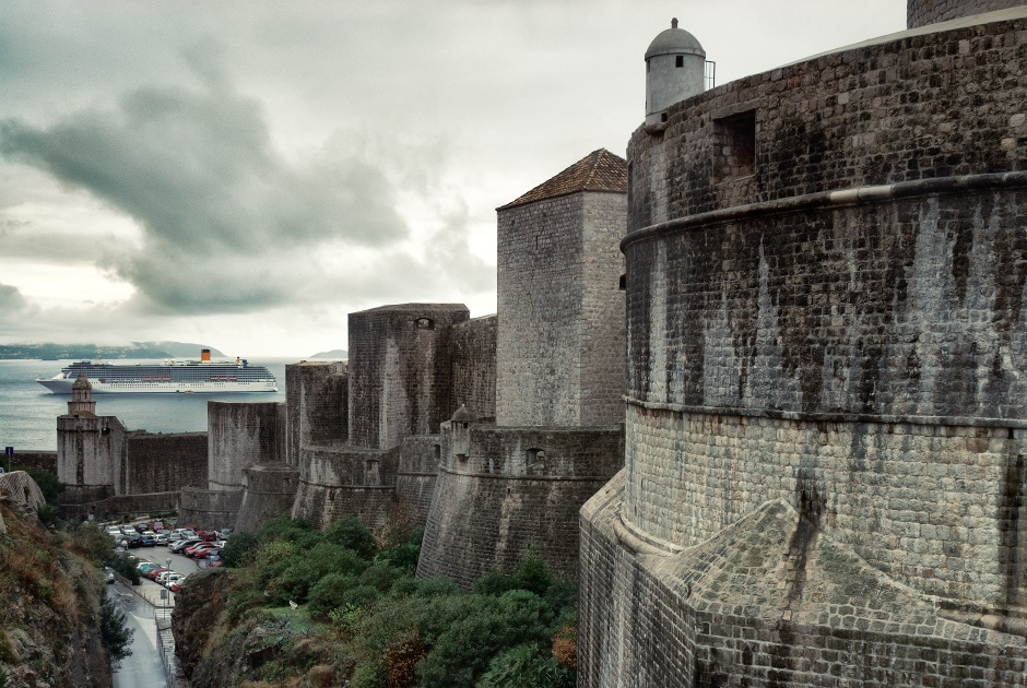 Outer city walls of the old town in Dubrovnik, croatia