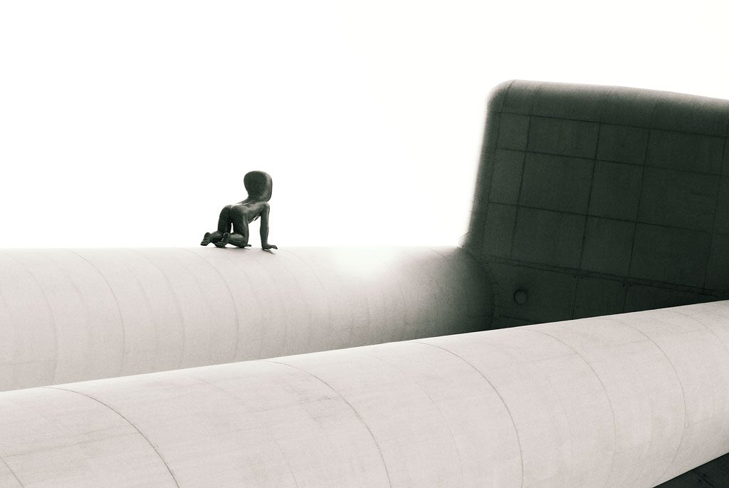 Baby sculptures 'crawling' up Zizkov tower in Prague, Czech Republic