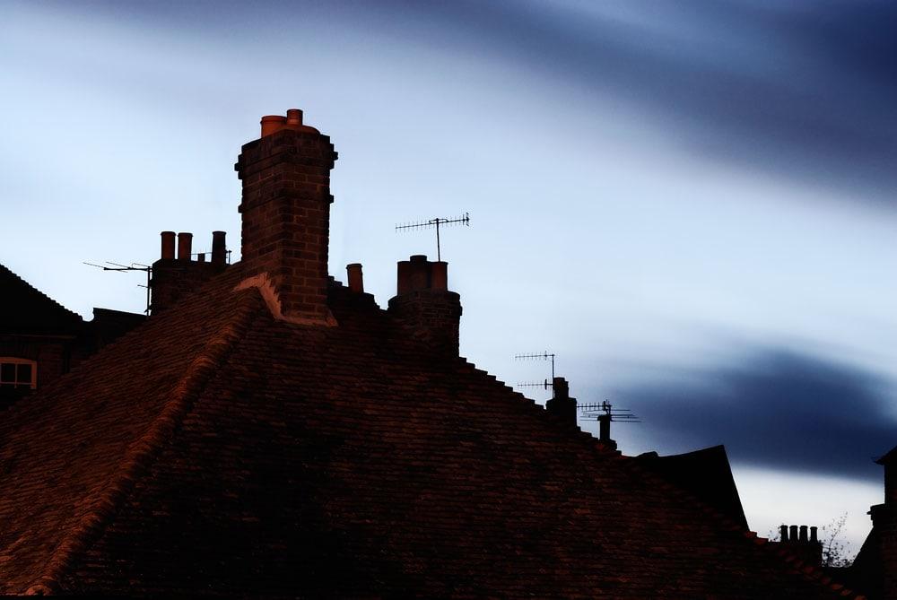 Rooftops at dusk, Canterbury, Kent, England, UK
