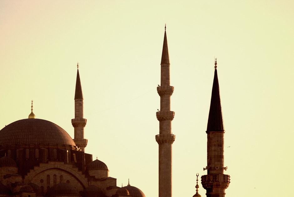 Mosque in warm evening light. Istanbul, Turkey