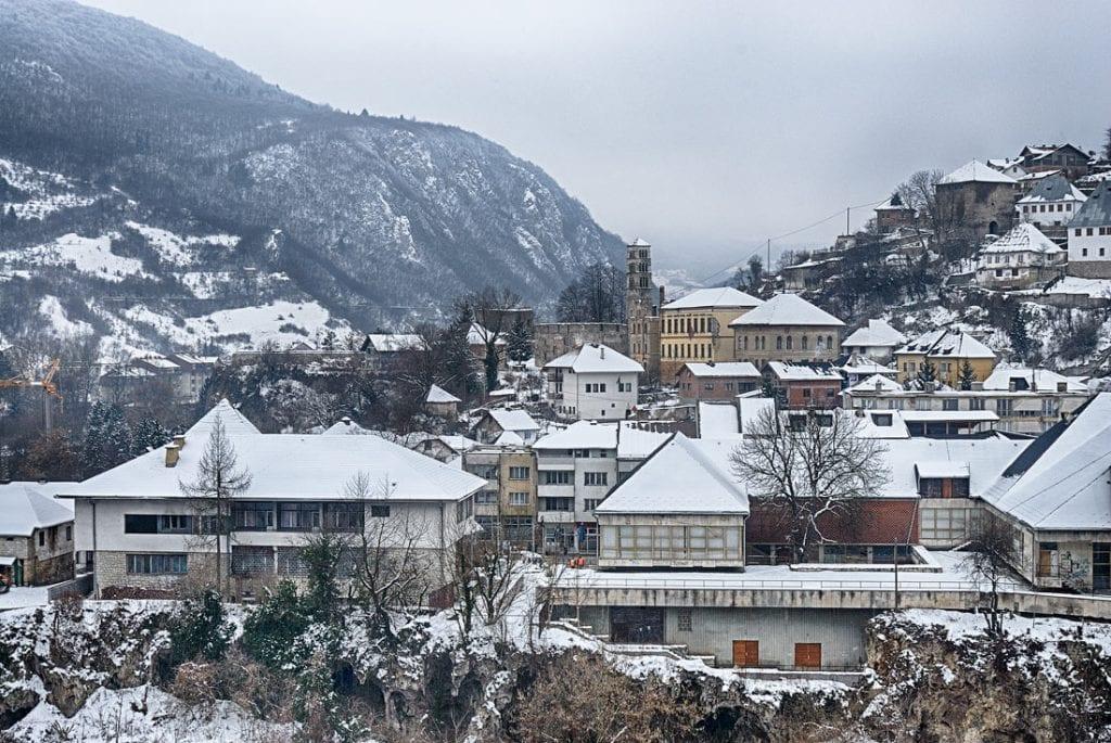 Snow covered Jajce, Bosnia and Herzegovina