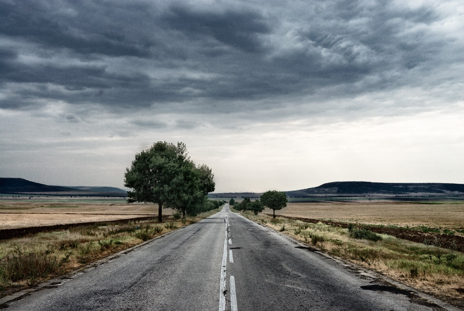 remote road in the Bulgarian countryside