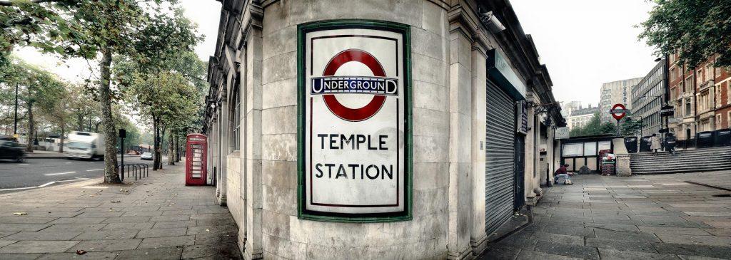 1930's London Underground sign.  London, England, UK. Panoramic Photography.