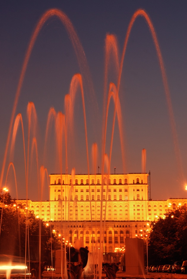 Looking towards the Palace of Parliament from Boulevard Unirii Bucharest romania