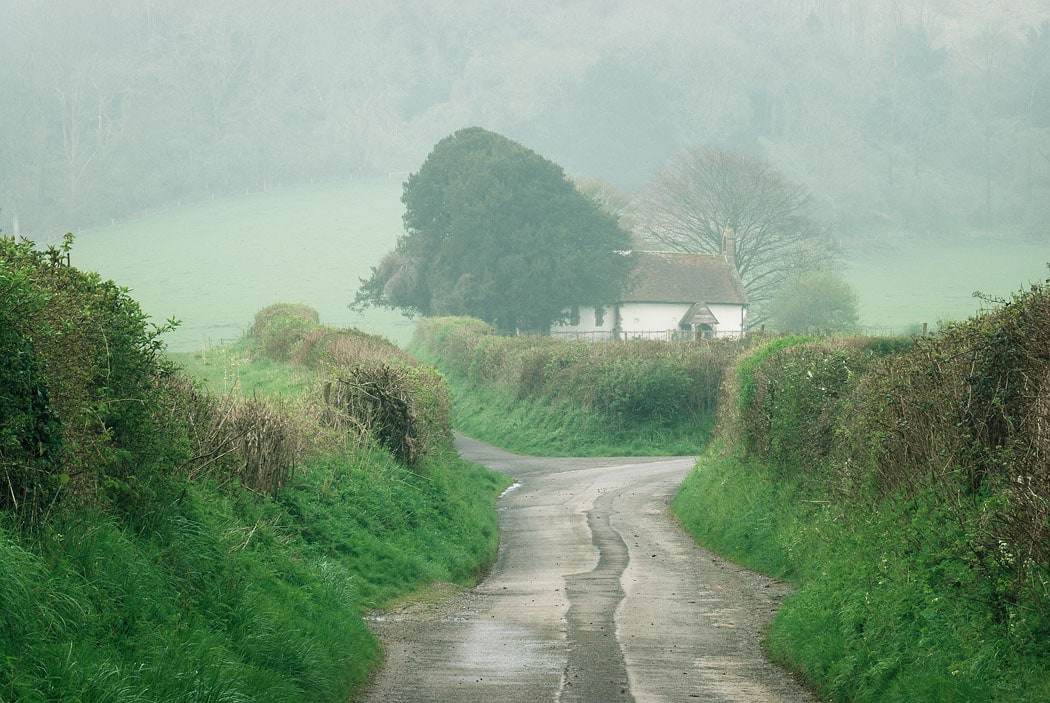 House at the end of a rural lane in West Sussex, South Downs, England,UK
