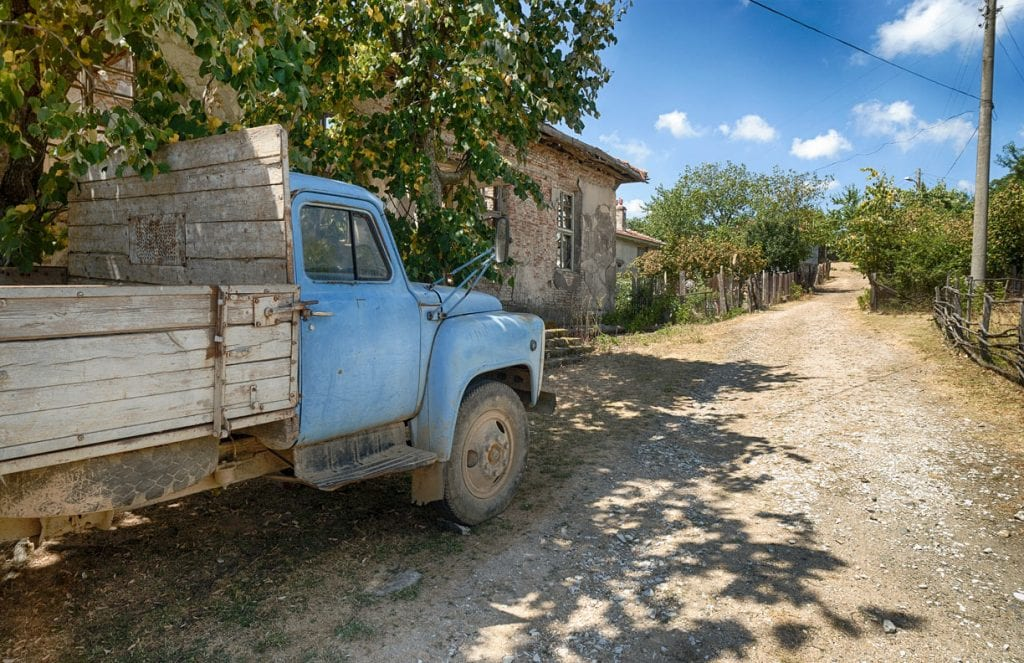 A truck parked in a small Bulgarian Village, Bulgaria