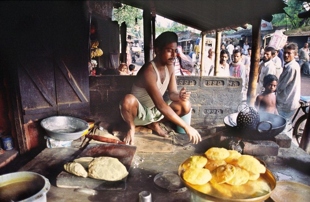 Small shop selling street food, West Bengal, India