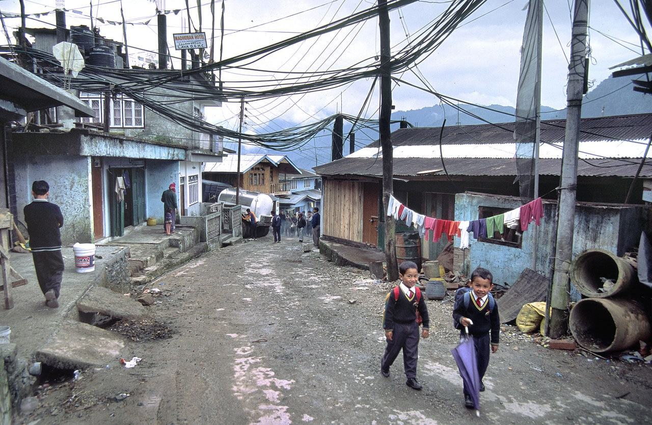 Children going to school in the Himalayan town of Lava, Darjeeling District, West Bengal, India