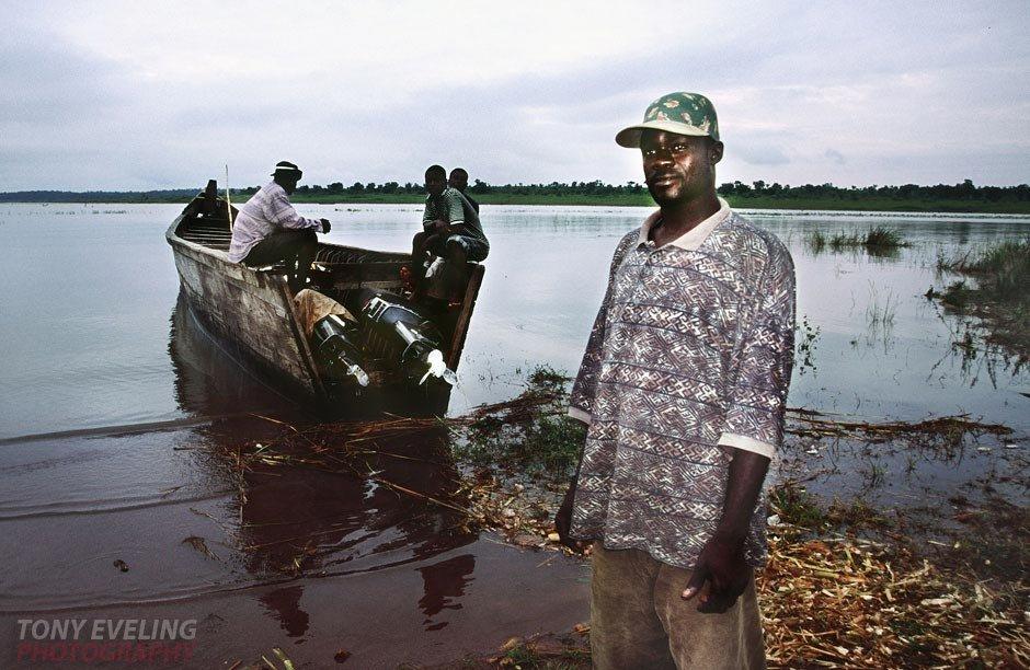 Ferryman on LAke Volta, Ghana