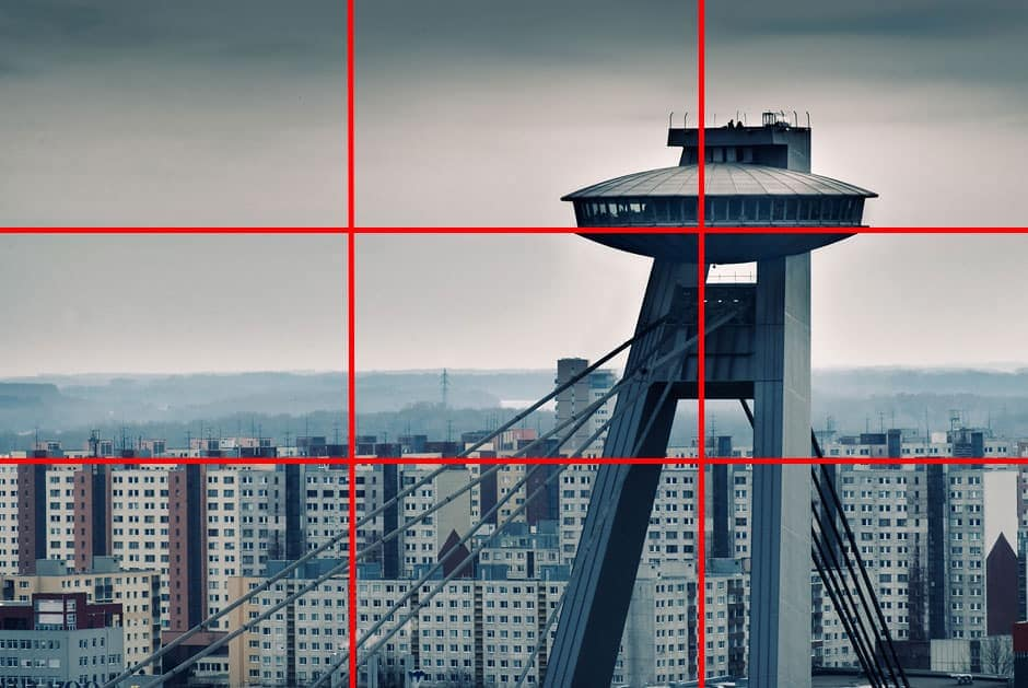 An example of the rule of thirds, with the rule of thirds grid applied