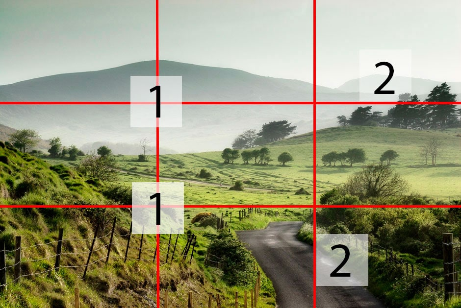 The 'rule of thirds' grid placed over a photo of the Dorset countryside