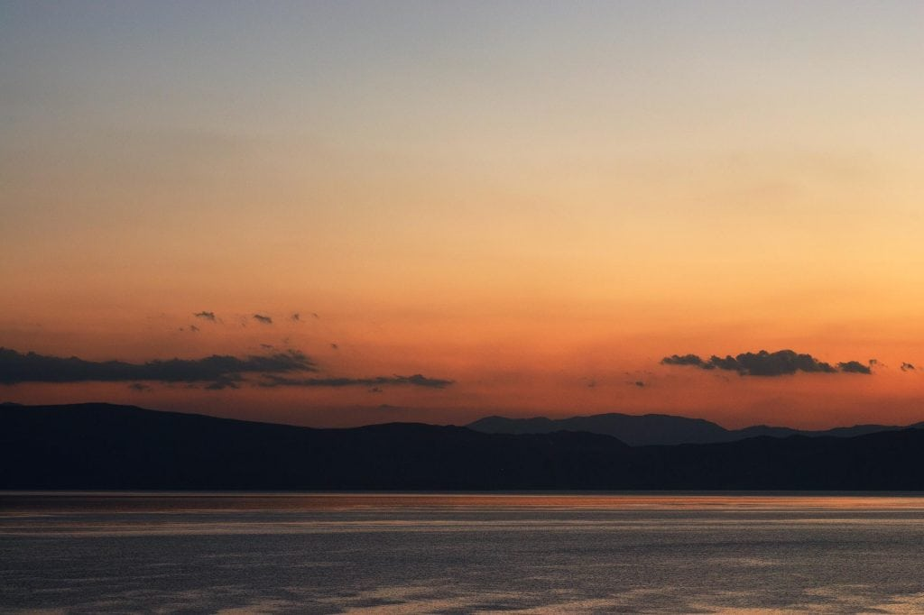 View across Lake ohrid, Macedonia to the mountains of Albania
