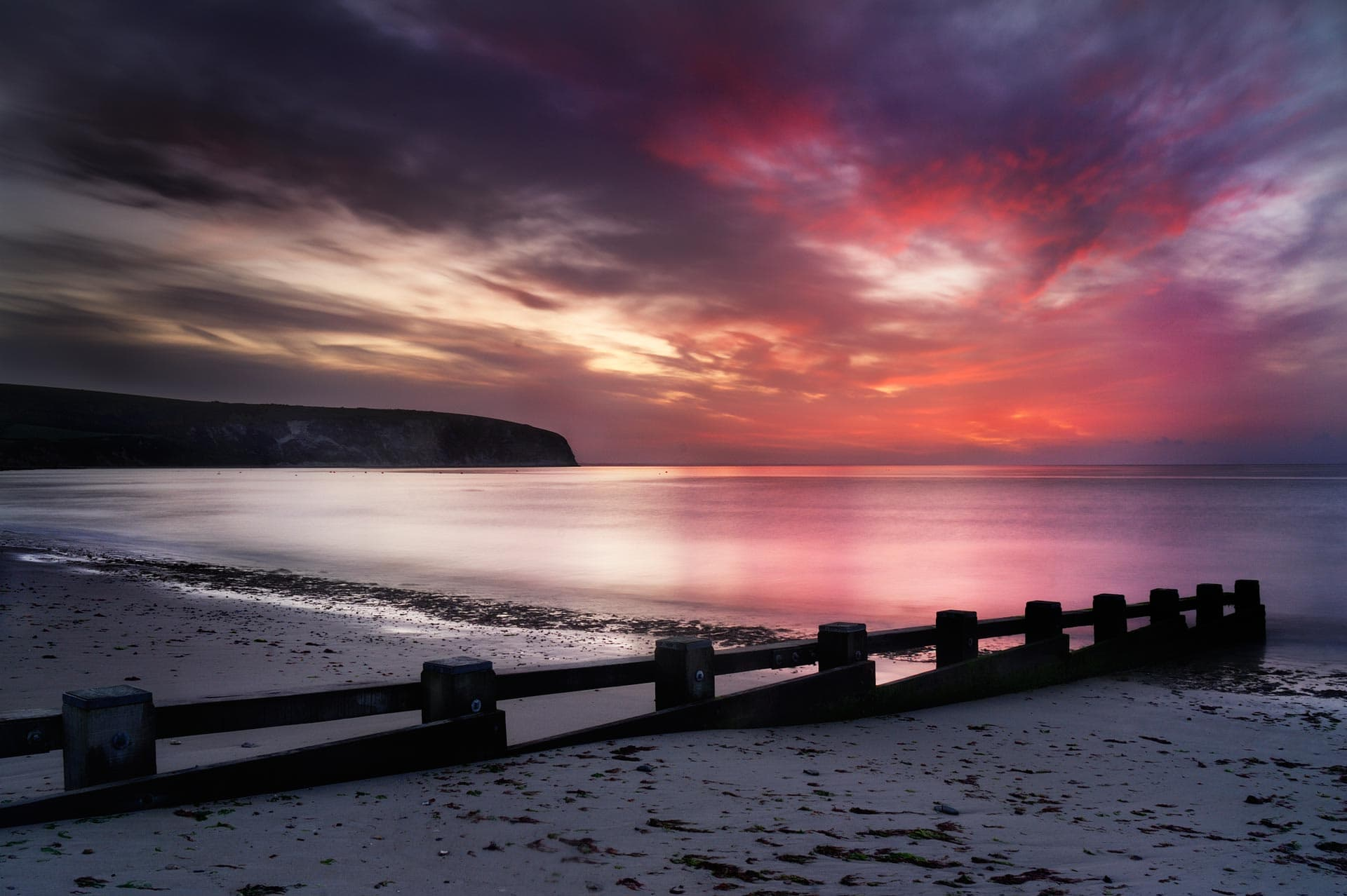 Swanage Bay in Dorset just before the Sun rises
