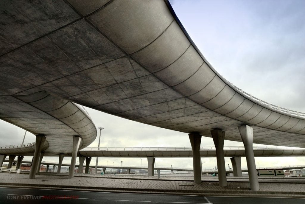Overpass road in the French town of Calais, France