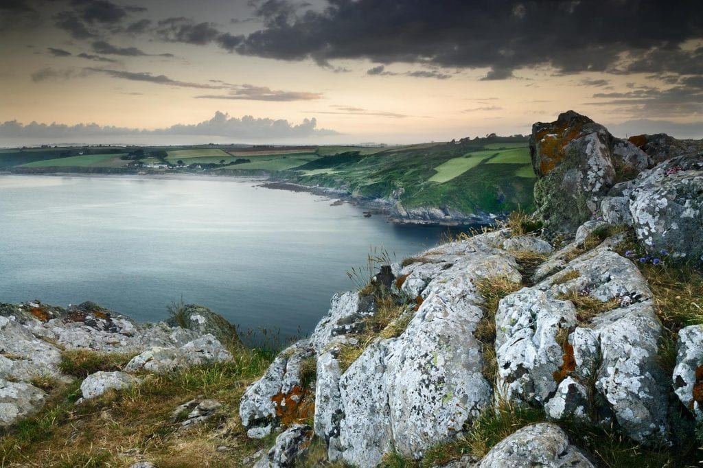 View at dawn from Nare Head, Cornwall, England, UK