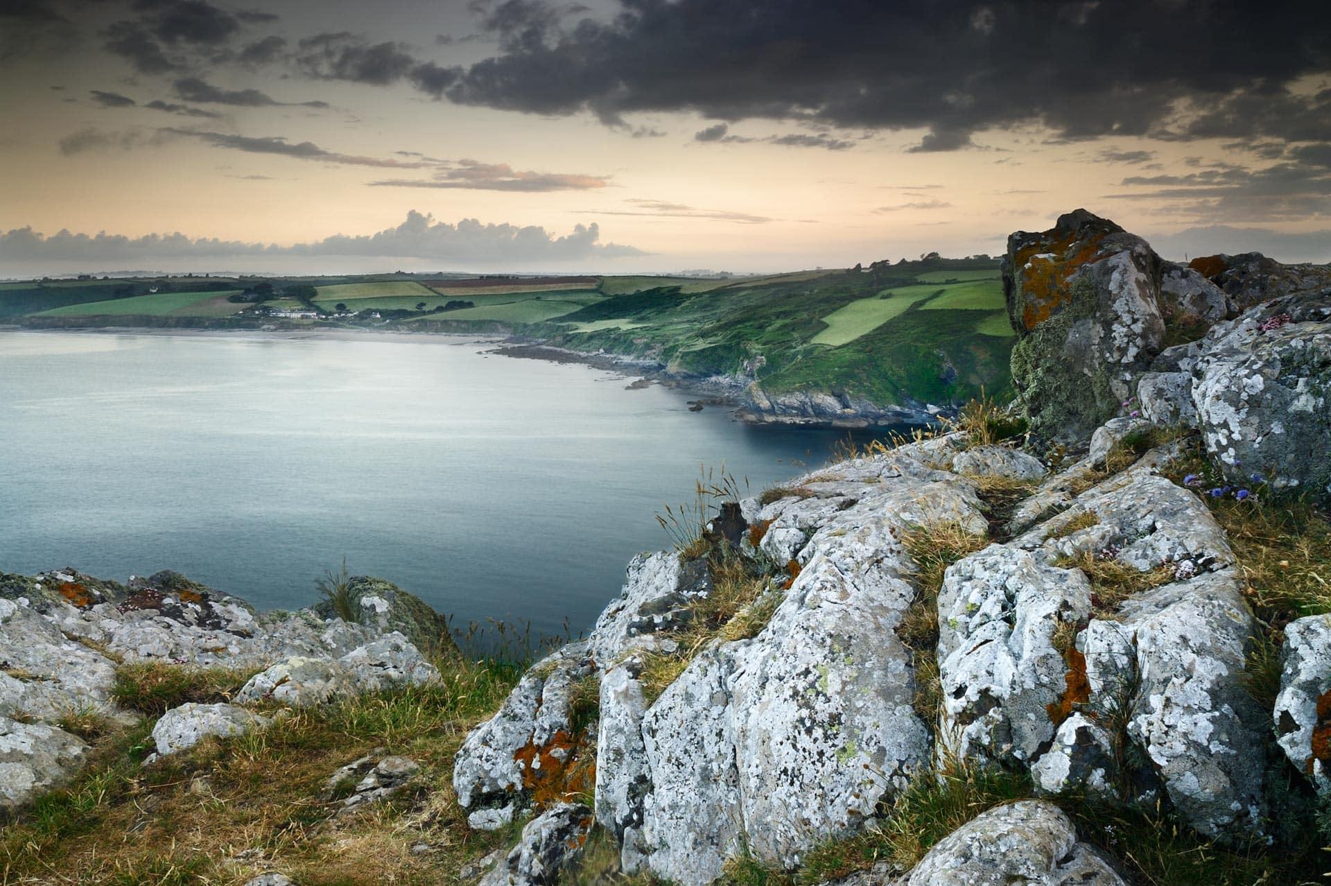 View at dawn from Nare Head, Cornwall, England, UK