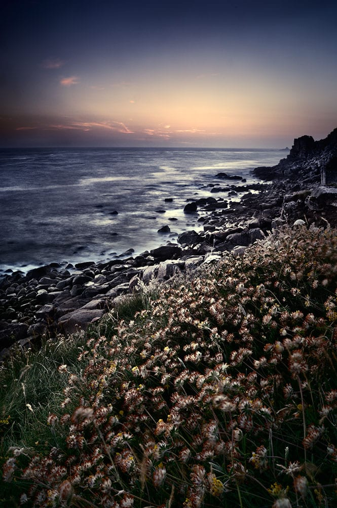 Dusk along the cornwall coastline, England, UK