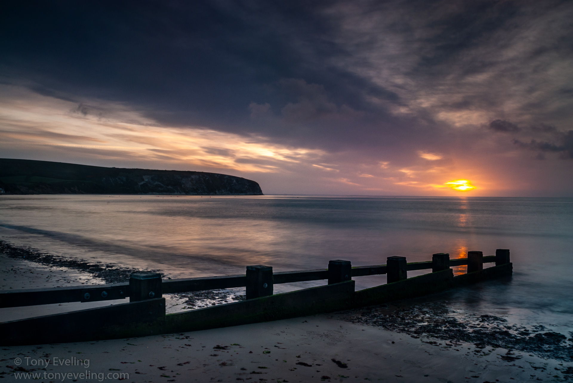 Swanage Bay at dawn, Dorset, England, UK