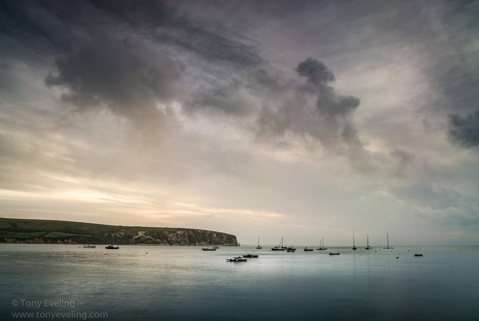 Tranquil dawn scene at Swanage Bay, Swanage, Dorset