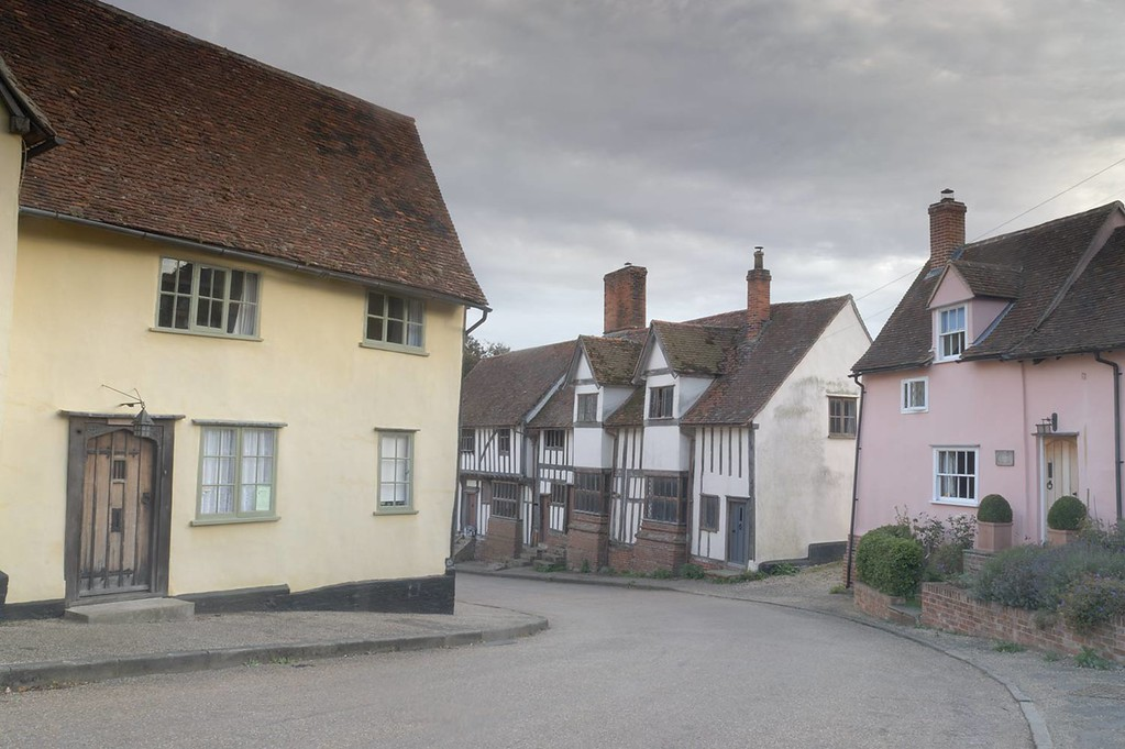 Example of a photograph before any post processing has been applied. Kersey village, Suffolk, England, UK