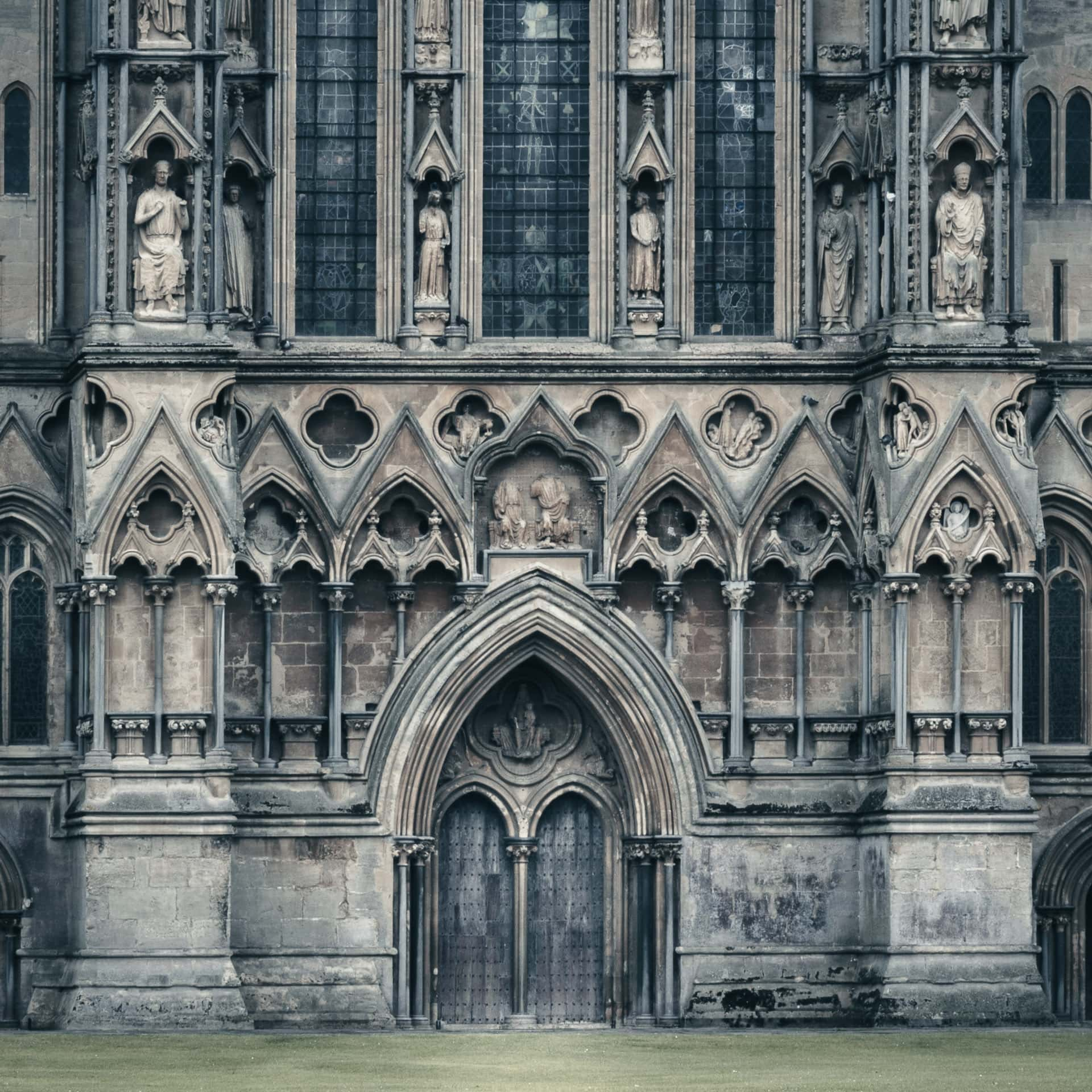 Urban Landscape photography.  View of the front of the cathedral at Wells, Somerset, England, UK