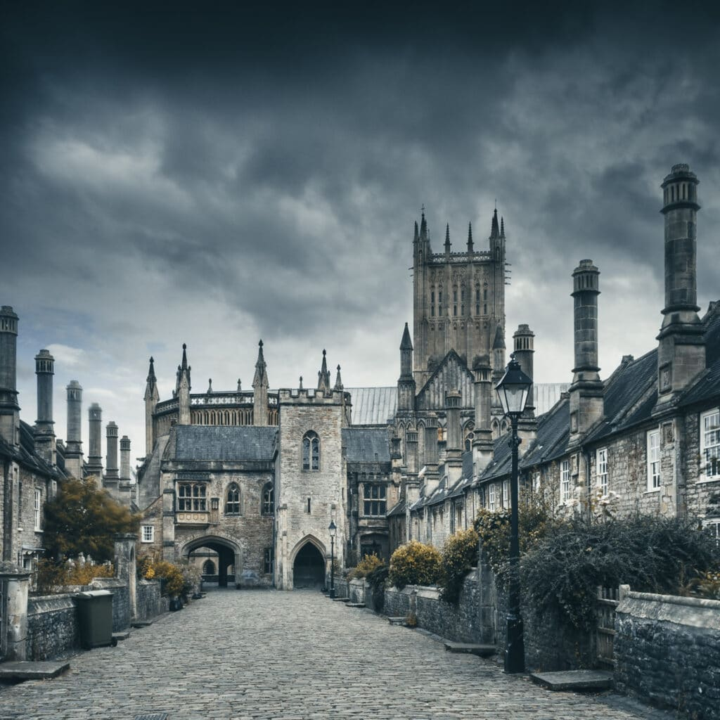 Urban Landscape Photography.  Moody urban photograph of Vicar's Close in Wells, Somerset, England, UK