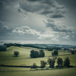 Landscape photography. Chesire landscape, rolling hills, countryside. Moody clouds