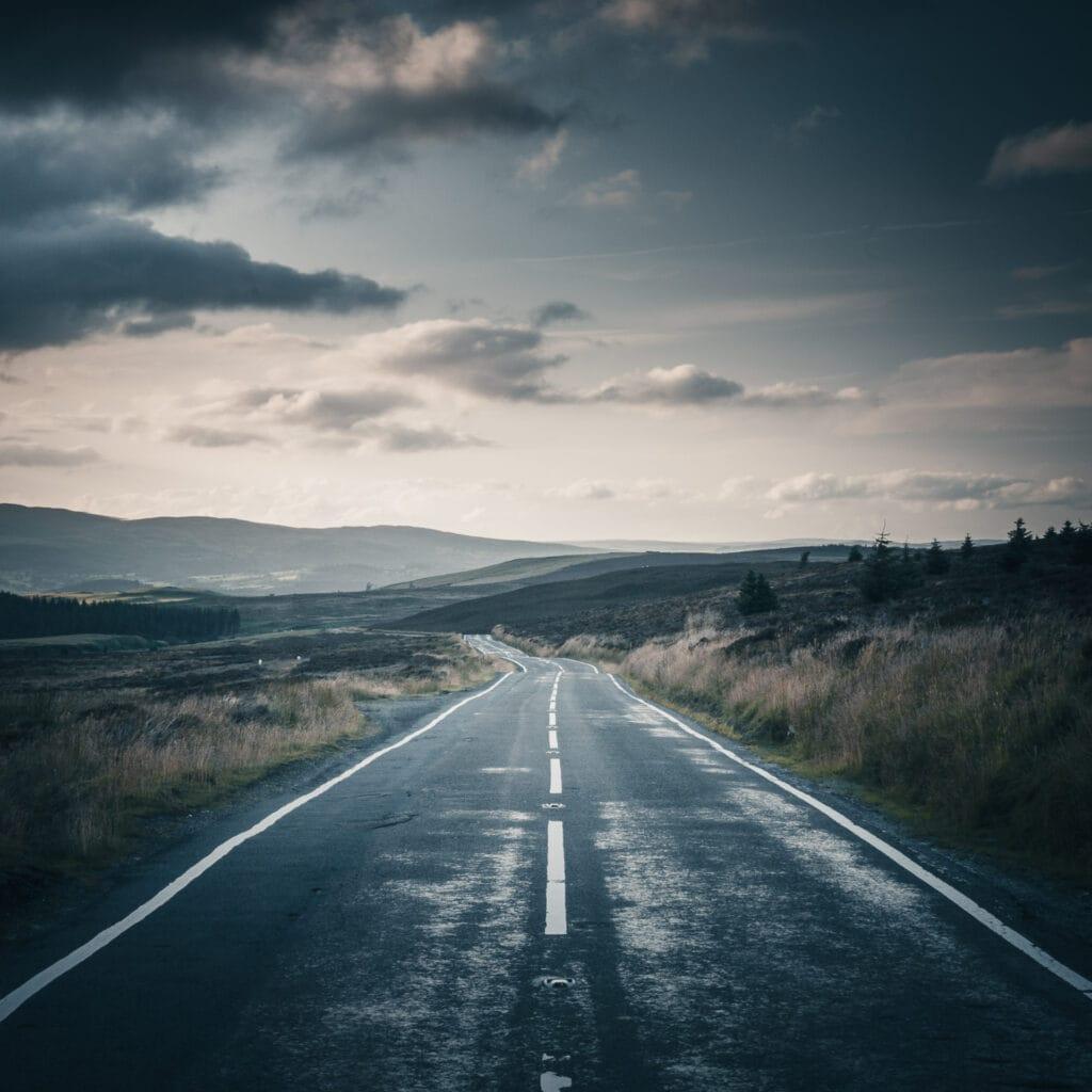 Landscape photograph, atmospheric road, headed towards Lake Bala in Wales, UK